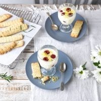 lemon and raspbery posset with rosemary shortbread