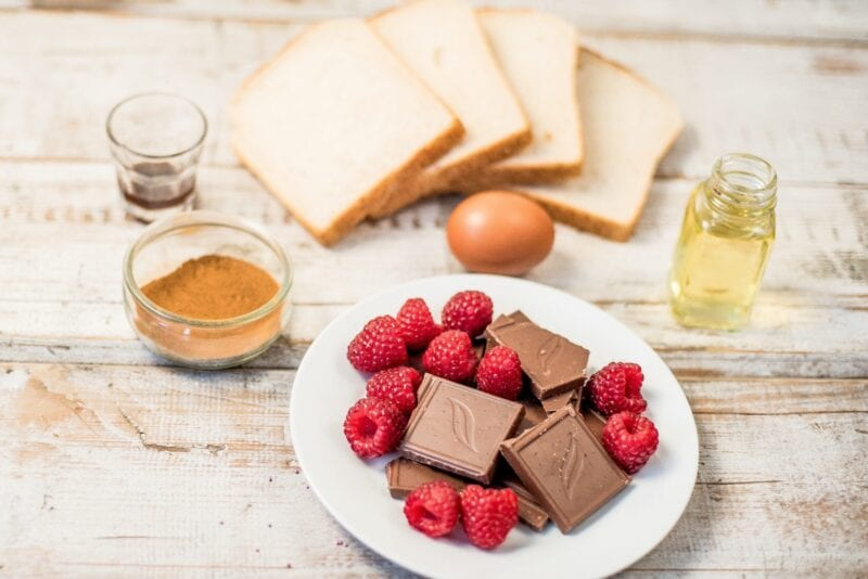 French Toast with Chocolate and Raspberries