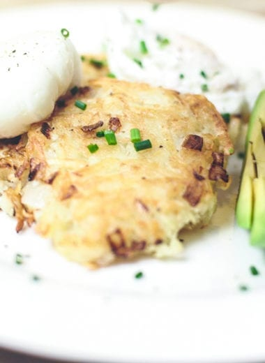 has browns with poached eggs and avocado