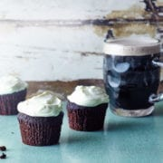 chocolate guinness cupcakes and a pint of guinness