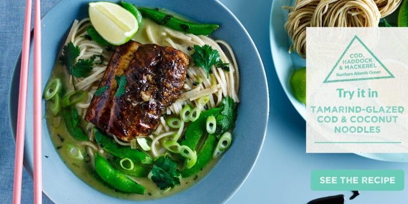tamarind glazed cod & coconut noodles recipe
