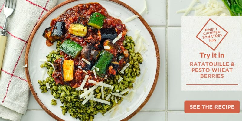 ratatouille & pesto wheat berries recipe
