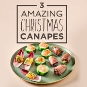 3 christmas canapes ideas on a plate
