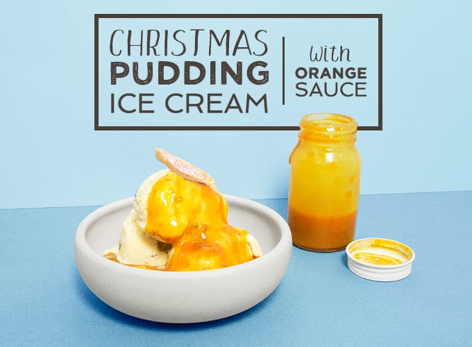 Christmas Pudding Ice Cream With Orange Sauce
