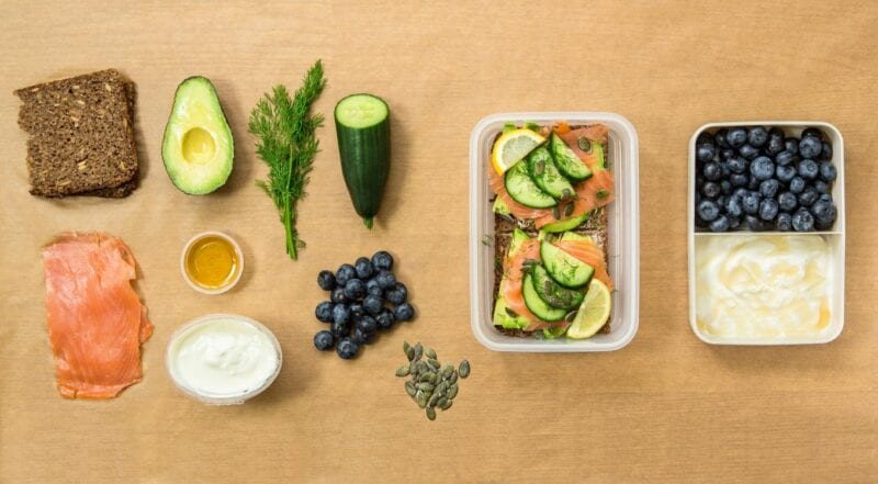 packed lunch with salmon and avocado