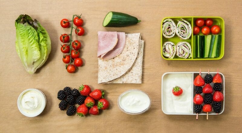 packed lunch with ham and cream cheese