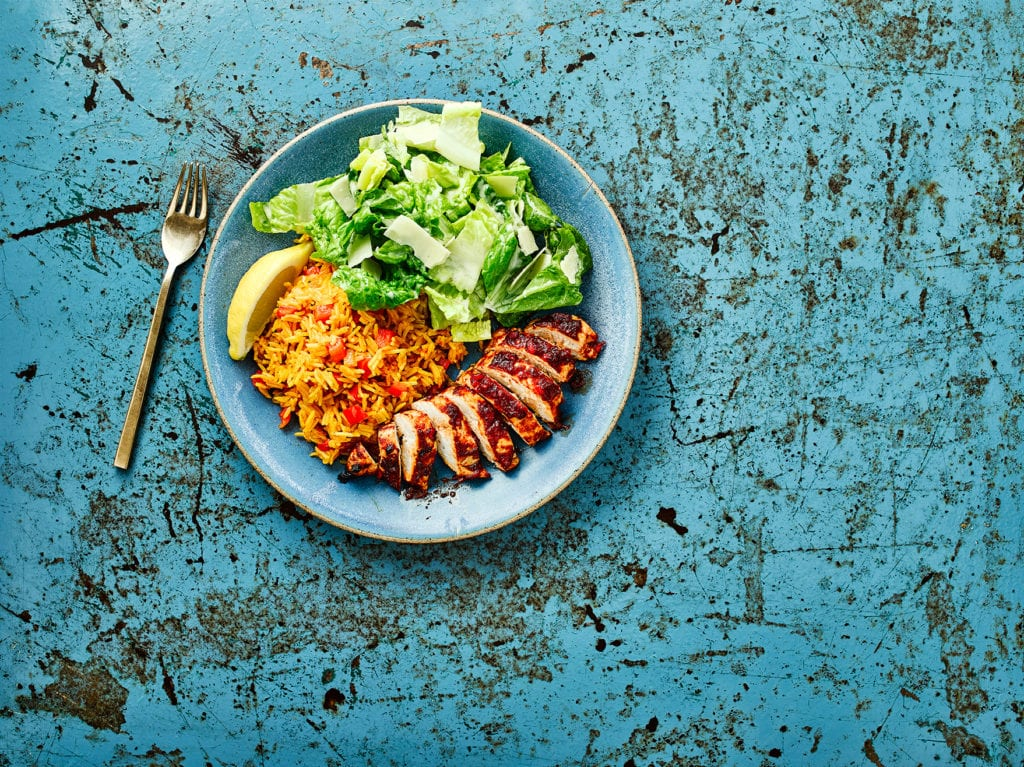 Gluten free peri peri chicken, spicy rice & salad