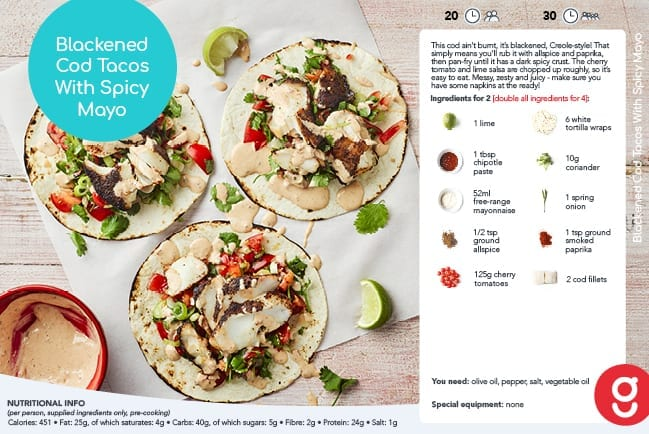 Blackened Haddock Tacos with Spicy Mayo Recipe Gousto