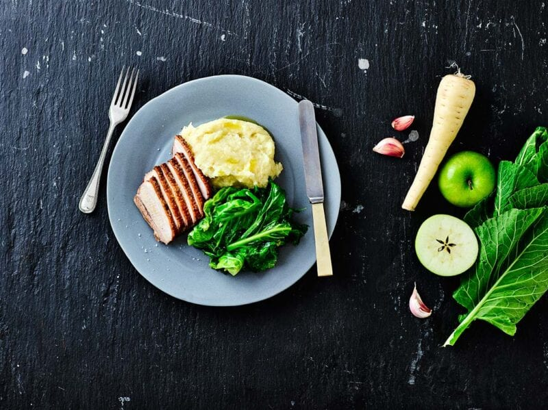 roast pork belly with apple mash recipe