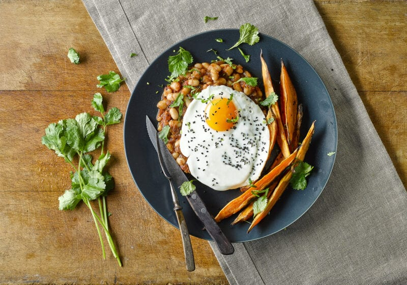 Indian Sweet Potato Chips & Beans