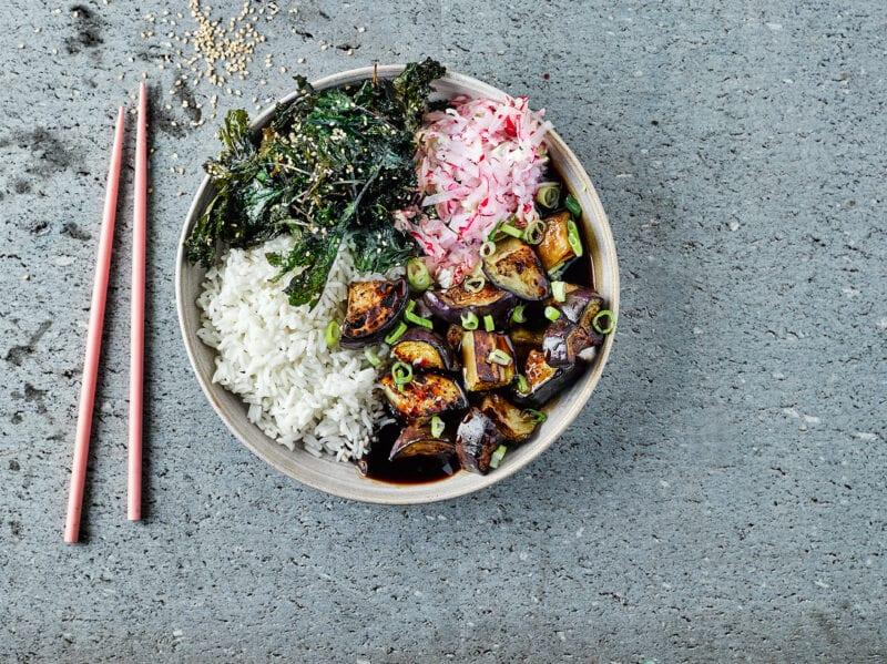 gousto teriyaki aubergine donburi recipe