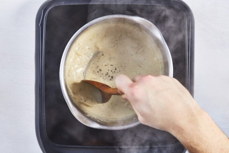 heating up a peppercorn sauce