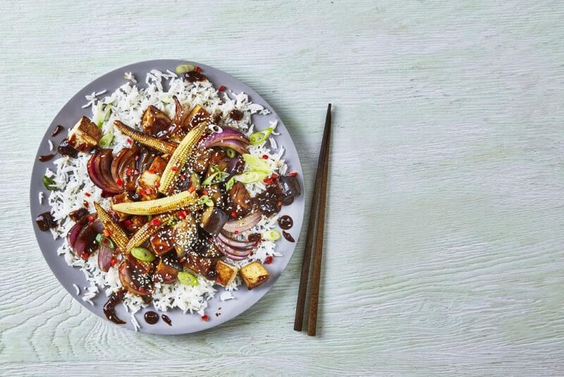 Sticky Chinese Tofu & Aubergine Stir-Fry recipe