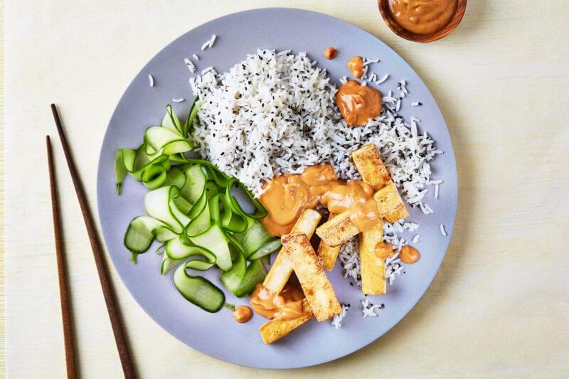 Crispy Tofu, Satay Sauce & Sesame Rice recipe