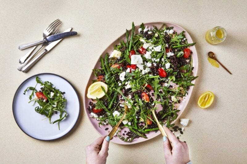 Ten-Min Feta, Asparagus & Lentil Salad recipe