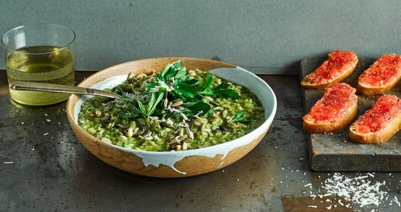 Green Risotto & Pan Con Tomate