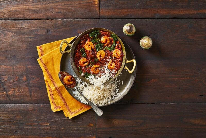 Goan Prawn Balchao Curry with Basmati Rice
