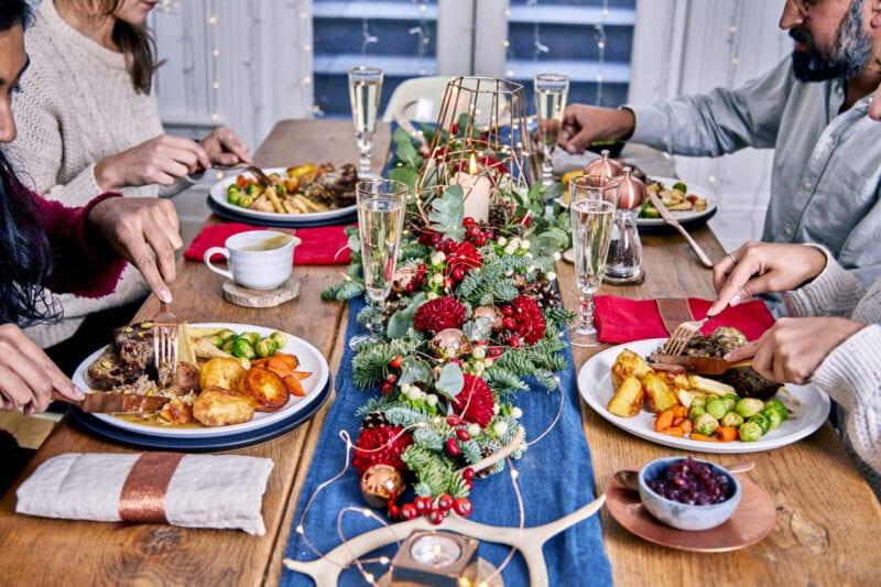 christmas table laden with vegan christmas food
