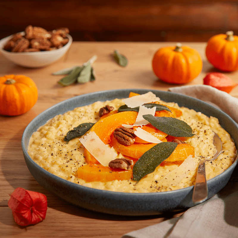A hot bowl of Butternut Pecan and Crispy Sage Risotto