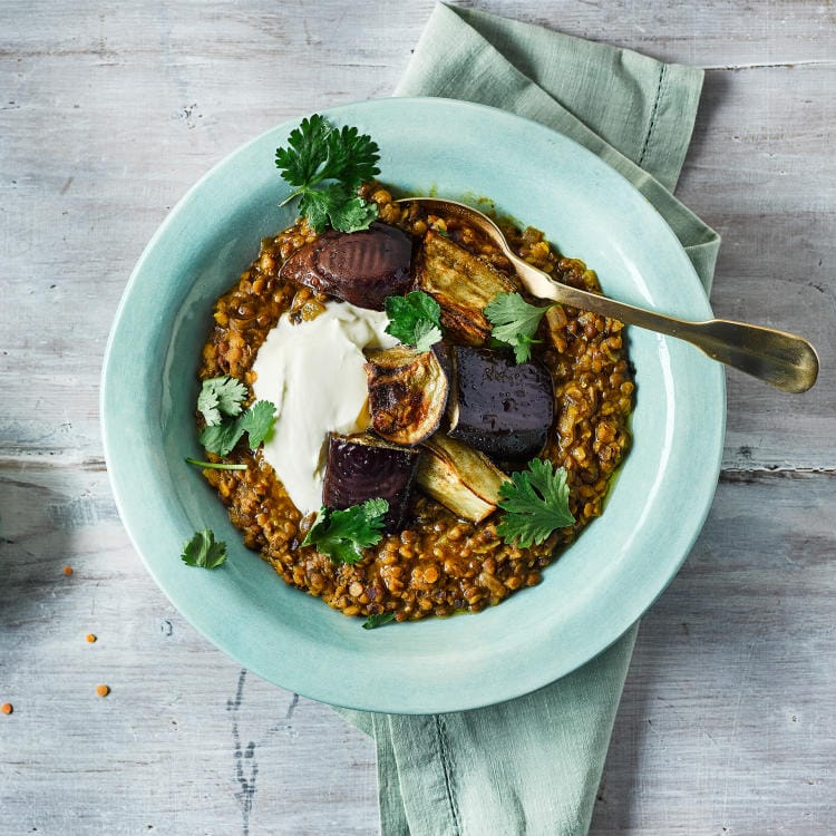 Two lentil dal with spiced aubergine and coconut yogurt (vegan)