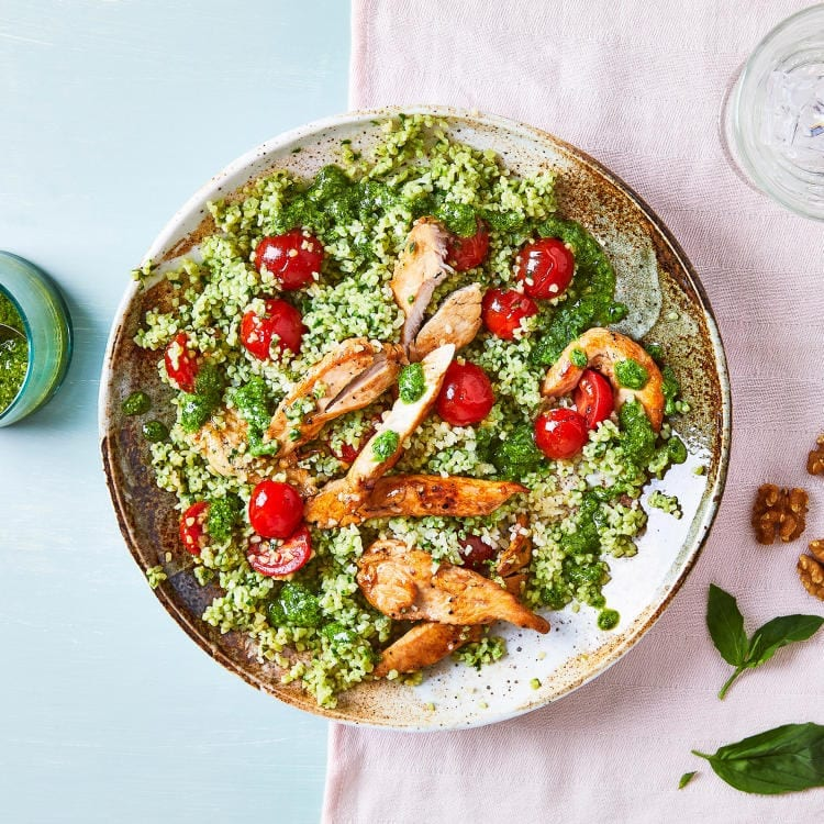 Walnut cheddar pesto with chicken and cherry tomatoes
