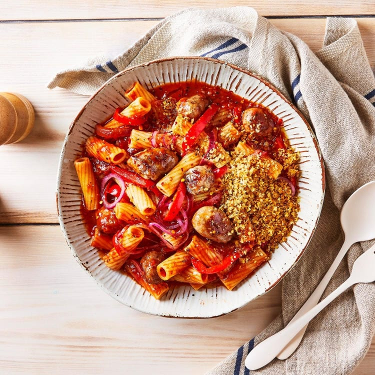 Red Pepper Sausage Pasta & Garlic Crumb