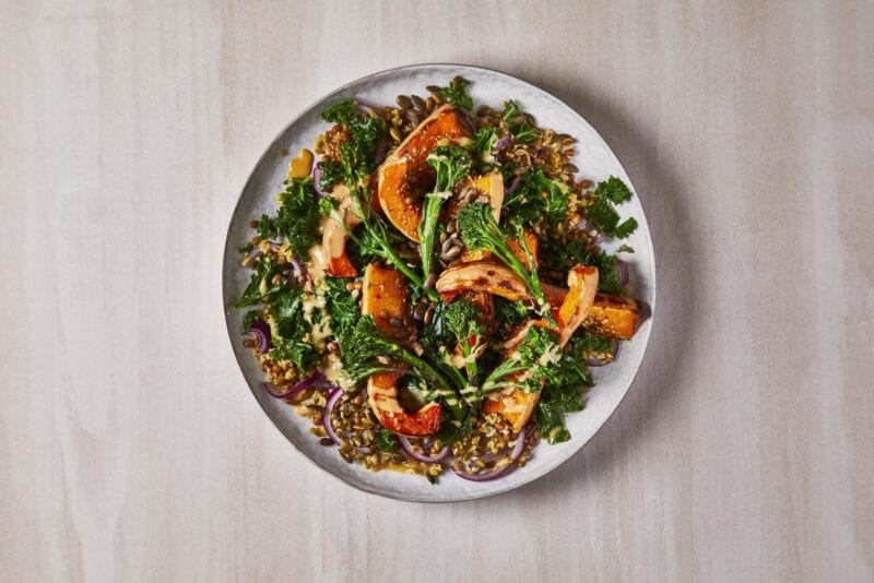 Roasted Squash Grain Bowl, Miso-Tahini Dressing