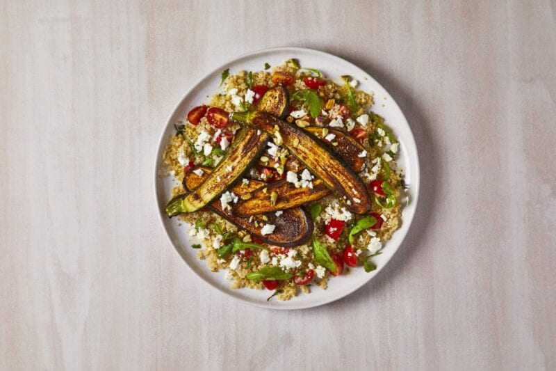 Spiced Aubergine With Mint & Pistachio Quinoa