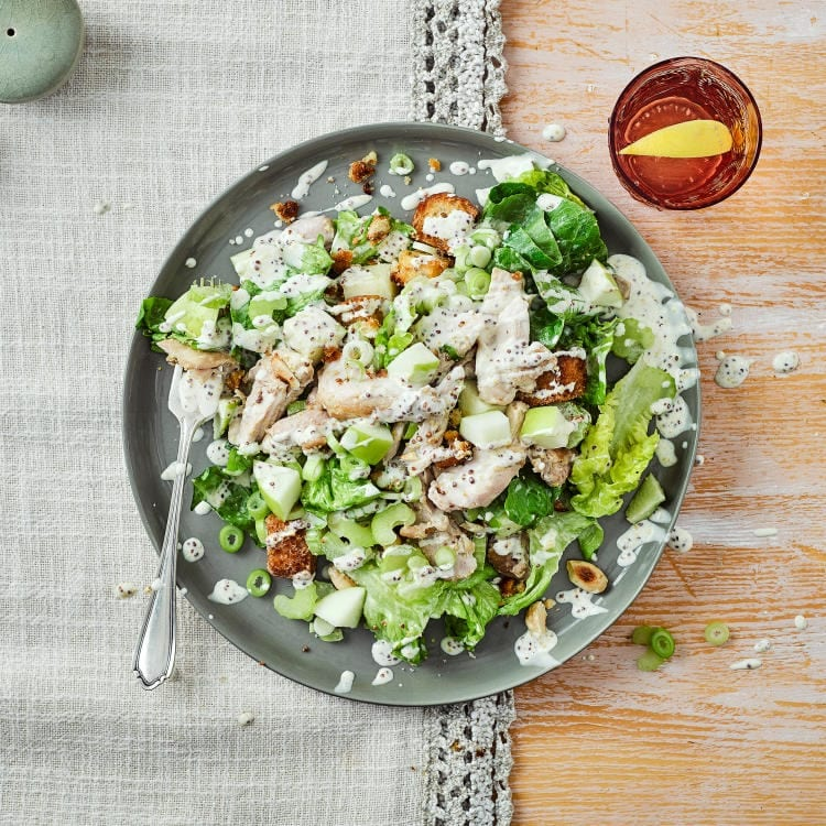 A green salad with chicken, apple, celery and creamy mayo dressing