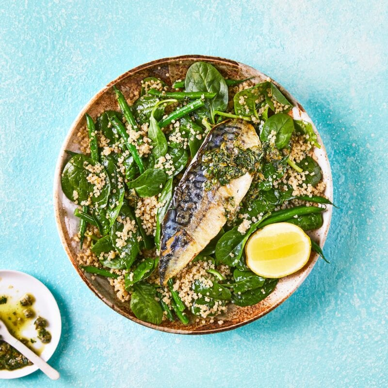 Mackerel Quinoa Salad with Lemon Caper Dressing