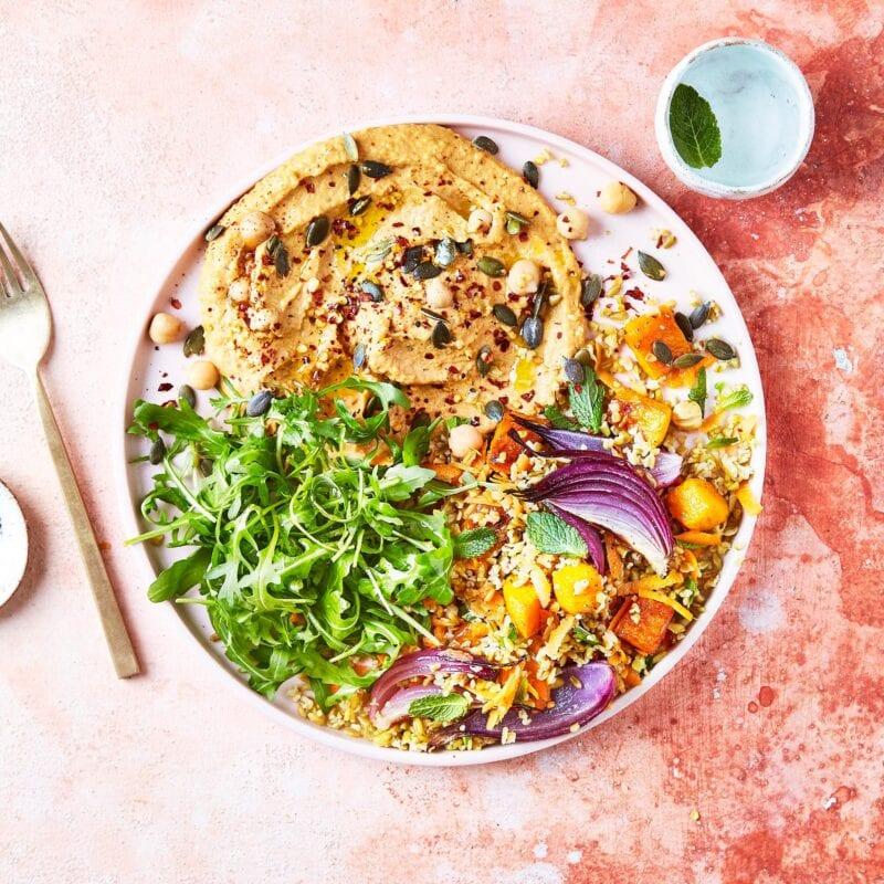 Gousto Harissa Hummus Roasted Veg Freekeh Salad