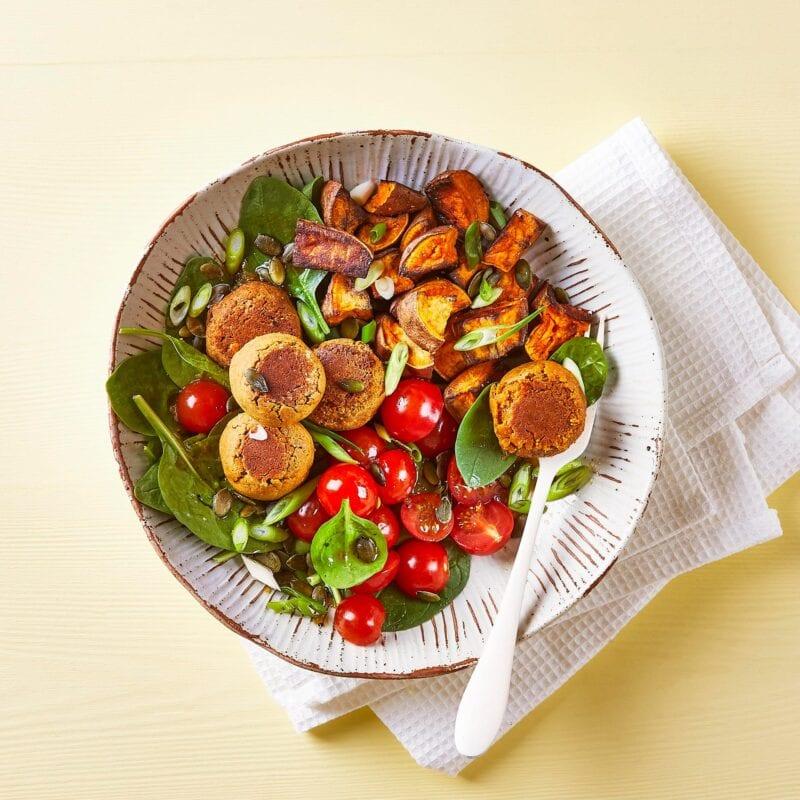 Peanut Harissa Falafel Salad