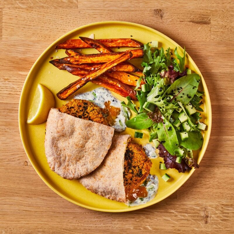 Chickpea Kofte Pitta, Sweet Potato Fries & Raita Gousto