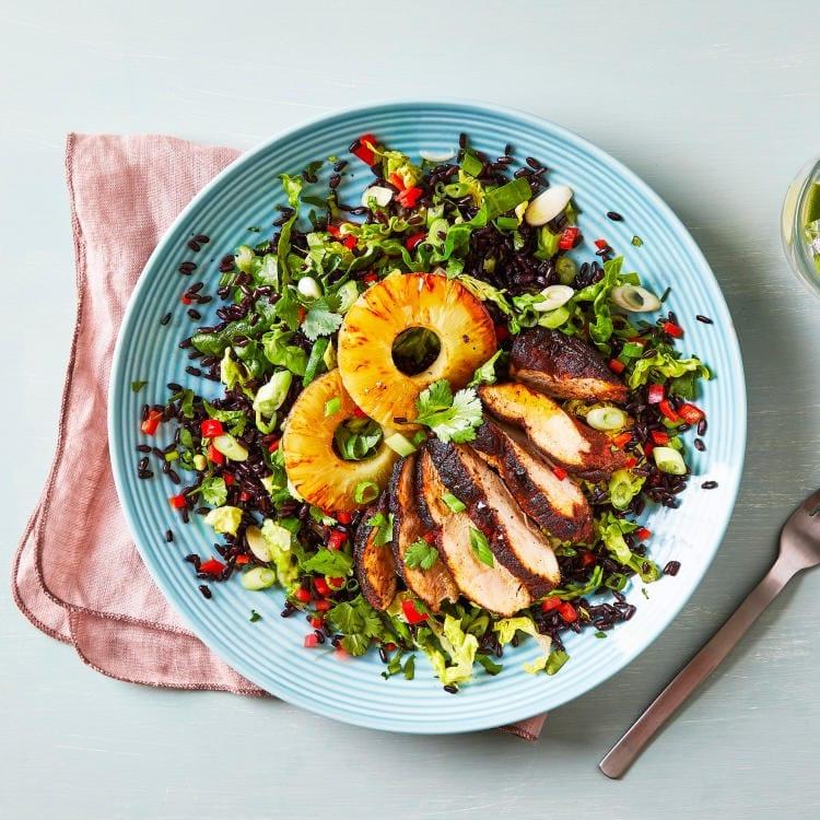 Fiery Jerk Chicken Pineapple Black Rice Salad Gousto