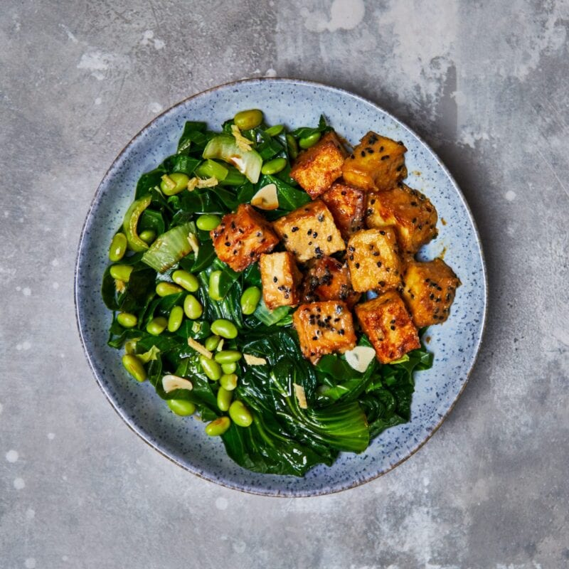 Miso tofu with stir fried ginger greens Lean in 15 recipe