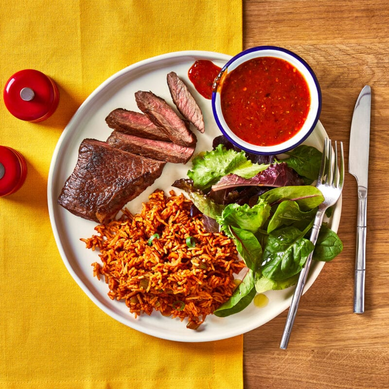 rump steak, spicy rice and peri-peri sauce by Gousto