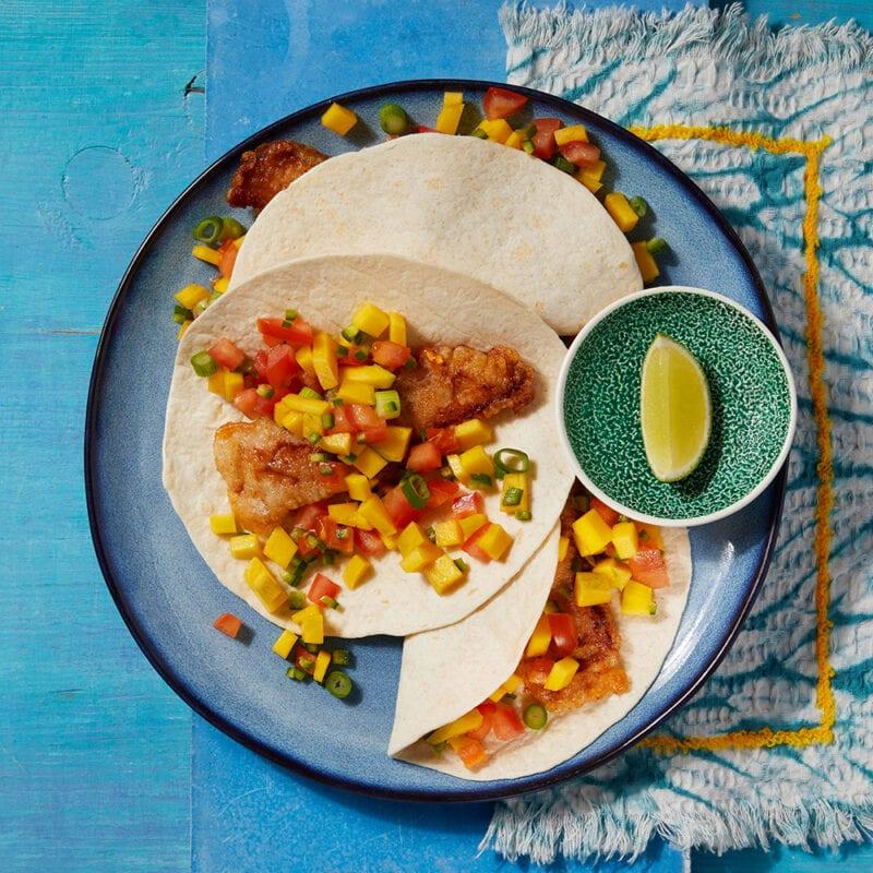 Baja fish taco with mango salsa