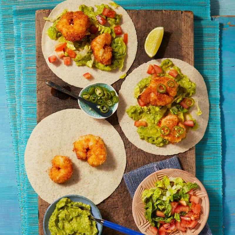 Coconut jumbo prawn tacos with guacamole