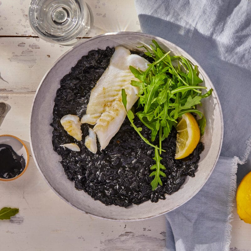 Venetian Risotto With Squid Ink & Pan-Fried Cod