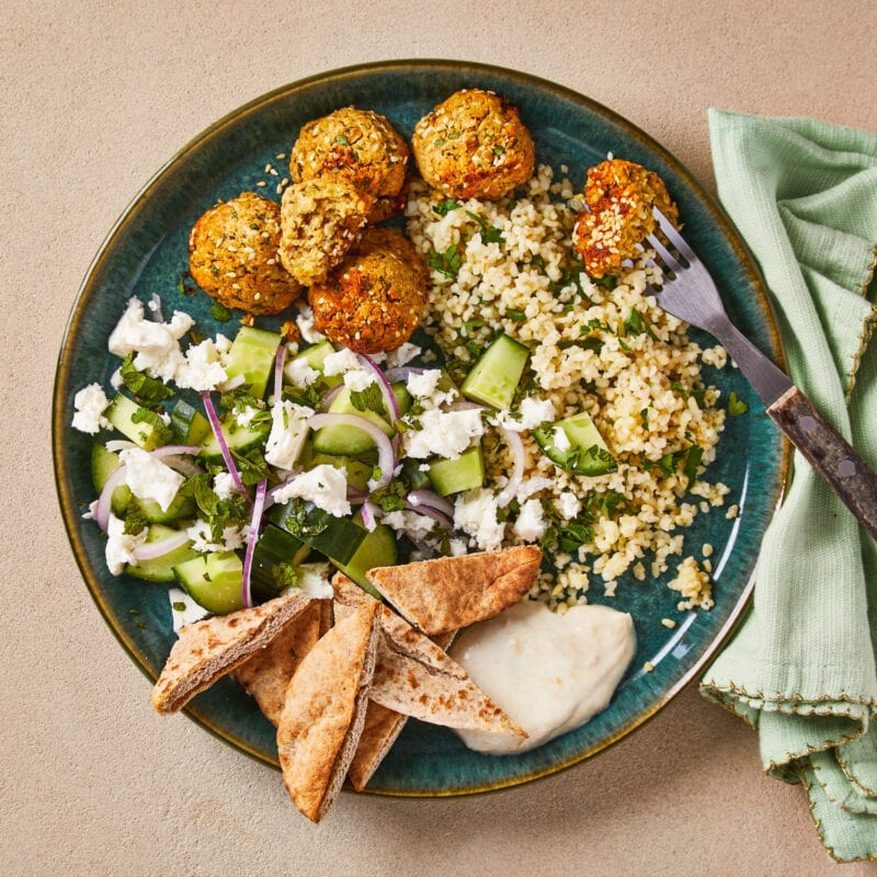Oven-Baked Falafel Mezze Plate