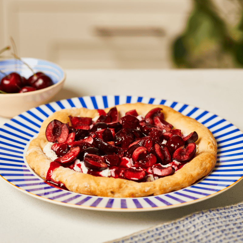 Cherry and ricotta pizza