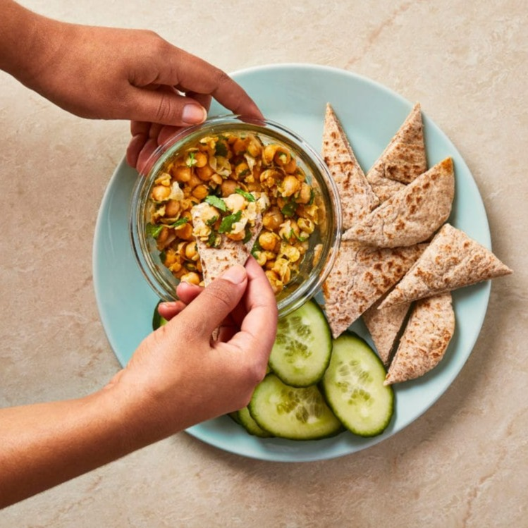Smashed chickpea snack
