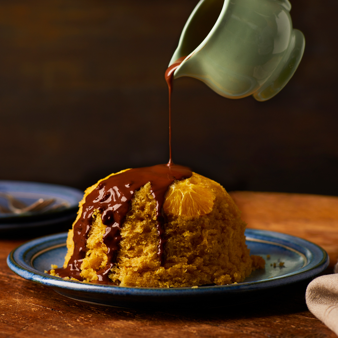 vegan chocolate orange sponge pudding